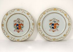 Pair Dishes Porcelain Company Indies Crested Shield Knight 18è
