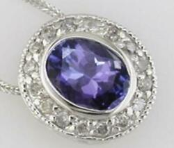 Estate 1.55ct Diamond And Aaa Tanzanite 14kt White Gold Oval And Round Bezel Pendant