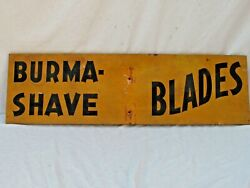 3 Antique Burma Shave Wooden Road Signs Orange And Black 1941 40 X 12