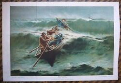 Rare Antique Print The Pilot From The Picture By E. Renouf 1880 40 X 275 Cm
