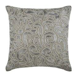 Designer Accent Throw Pillow Taupe Grey 18x18 Linen Zardozi - Taupe Carnival