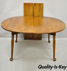 Vtg Pennsylvania House Cherry Wood Colonial Style Oval Dining Table W/ 2 Leaves