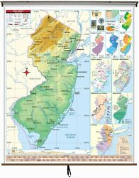 New Jersey State Intermediate Thematic Classroom Wall Map