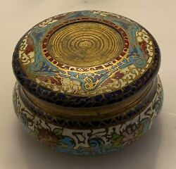 Antique Gilded Bronze Champleve Round Box, Generally In Good Antique Condition,