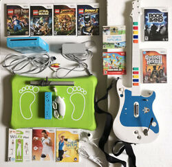 Blue Nintendo Wii Console + Guitar Controller + Fit Board + 11 Games Lot