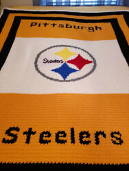 Nfl Pittsburgh Steelers Blanket Throw Afghan Hand Made Crocheted Queen Size
