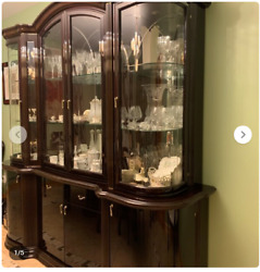 Ship to GA: Mahogany Lacquer Wood China Cabinet Storage LIGHTED Display + MIRROR
