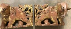 Rare Antique Cambodian Gilded Elephant Temple Carvings