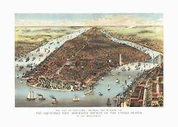 New York 1883 Historical Print Mounted Wall Map Framing Available