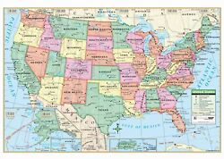 Us Primary Mounted Wall Map Framing Available