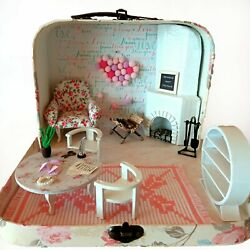 Travel Dollhouse In A Suitcase 112 Scale Roombox Diorama. Maileg Mouse Realpuki