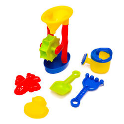 6PCS Beach Toy Playset Sand Water Wheel Watering Can Sand Molds Tools Kids Gift $12.30
