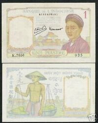 French Indo China 1 Piastre P54 E 1949 Buffalo Aunc Vietnam Currency Money Note