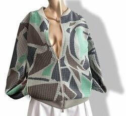 Hermes Green/grey/blue/brown Double Plisse Bomber Jacket Szl Bnew