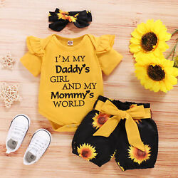 3PCS Newborn Baby Girl Clothes Romper Bodysuit Tops Shorts Headband Outfits Set $11.04