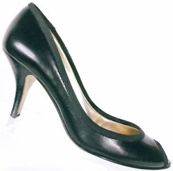 Guess Womenand039s Black Leather Peep Toe Stiletto Heel Shoes Size 5.5 M