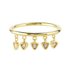 14k Solid Gold Diamond Dangle Element Ring Size 6 7 8 - Yellow Gold