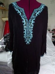 Women's Cute Options summer tunic Top large black with aqua embroidery rayon $17.99