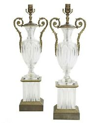 Pair Antique Gilt Metal And Molded And Cut Crystal Table Lamps
