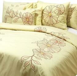 King/queen/twin Yellow Cotton Duvet Cover Embroidery - Yellow Floral Garden