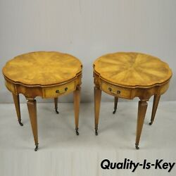 Pair Heirloom Weiman Crotch Flame Mahogany Federal One Drawer Side End Tables