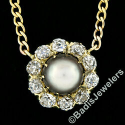 Antique 18k Gold Tahitian Pearl Solitaire Old Mine Diamond Halo Pendant Necklace