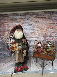 Stunning Life Size 5'ft Lyn Summers Old World Santa Claus With Toy Cart Ooak