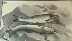 """""""two Fish On Newsprint"""" Russell Cowles 1887-1979 As Of 1946. 40+ Museums"""