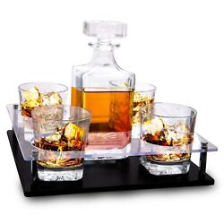 Old Fashioned Decanter And Whiskey Glasses Set Andndash On Rich Wood Mahogany Base Tray