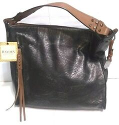 Womens Designer Handbag HAYDEN Black Purse Shopper Hobo Bag Retail $128 $49.00