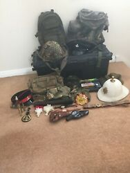 Large Collection Of Military Bags, Antique Helmets, Tank Scope And Badges
