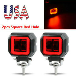 3inch Led Work Light Bar Spot Driving Fog Pods Drl Red Halo Offroad 4wd Atv Suv