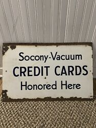 Vintage 1950s Socony-vacuum Credit Card Porcelain Double-sided Oil Gas Sign