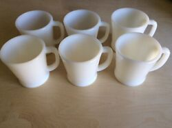 Vintage Fire King Oven Ware Set Of 6 Milk Glass Coffee Mugs Very Good Shape