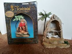Vintage 1998 Fontanini 5 Heirloom Nativity Lighted Grotto With Palm Tree 50542