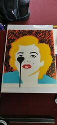 Pure Evil Street Art And039the Last Marilynand039 Black And Yellow Crayon 2015 Print 1/1