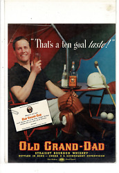 Vintage Old Grand-dad Straight Bourbon Whiskey Polo Player Ad Print K260