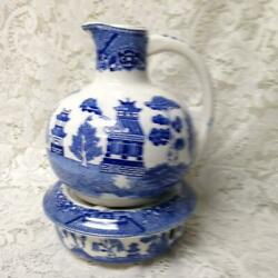 Vintage Rare Made In Japan Large 9.5in X 7in Blue Willow Carafe With Warmer