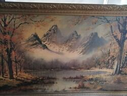 Vintage Mountain Range Framed Art Print Signed By Knox 53 In By 30 Inches Rare L