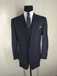 Hickey Freeman Usa Wool Suit With Vest 2 Btn Center Vent 42 L--fit 42l-44 Long