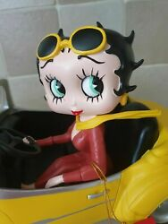 Extremely Rare Betty Boop Driving In Yellow Sports Car Figurine Statue