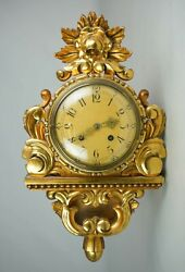 Antique Wall Clock, German Gilt Composition And Wood, Gorgeous Wall Decor