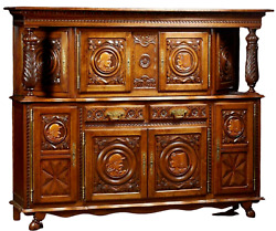 Antique Sideboard, Breton, French Provincial Carved Oak Sideboard, 20th Century