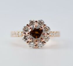 14k Rose Gold Round Brown Diamond Center With A Halo Of Diamond Ring Size 7