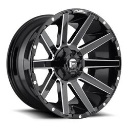 24x14 D615 Fuel Contra Gloss Black And Milled Wheels 6x135/6x5.5 -75mm Set Of 4