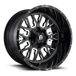 24x14 D611 Fuel Stroke Gloss Black And Milled Wheels 8x170 -75mm Set Of 4