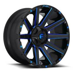 24x14 D644 Fuel Contra Gloss Black And Blue Wheels 8x6.5 -75mm Set Of 4