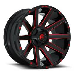 24x12 D643 Fuel Contra Gloss Black And Red Wheels 6x5.5/6x135 -44mm Set Of 4