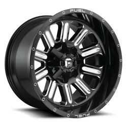 22x12 D620 Fuel Hardline Gloss Black And Milled Wheel 5x4.5/5x5 -44mm Set Of 4