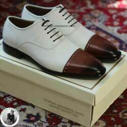 Handmade Menand039s Genuine White And Brown Leather Oxford Lace Up Dress Shoe Us169